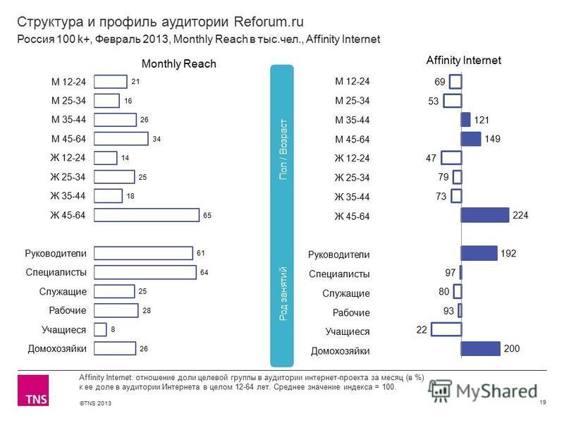 ©TNS 2013 X AXIS LOWER LIMIT UPPER LIMIT CHART TOP Y AXIS LIMIT Структура и профиль аудитории Reforum.ru 19 Affinity Internet: отношение доли целевой группы в аудитории интернет-проекта за месяц (в %) к ее доле в аудитории Интернета в целом 12-64 лет