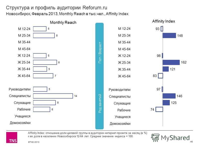 ©TNS 2013 X AXIS LOWER LIMIT UPPER LIMIT CHART TOP Y AXIS LIMIT Структура и профиль аудитории Reforum.ru 46 Affinity Index: отношение доли целевой группы в аудитории интернет-проекта за месяц (в %) к ее доле в населении Новосибирска 12-64 лет. Средне