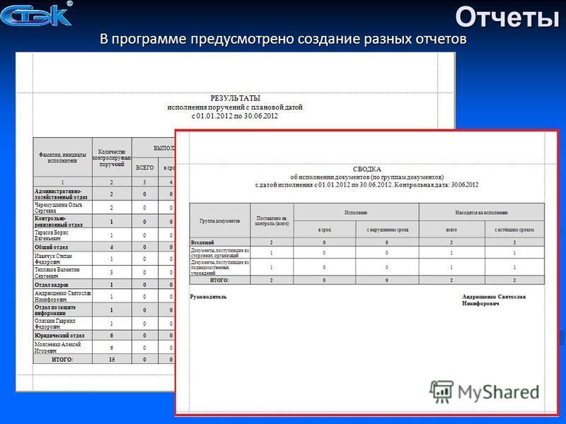 Отчеты В программе предусмотрено создание разных отчетов