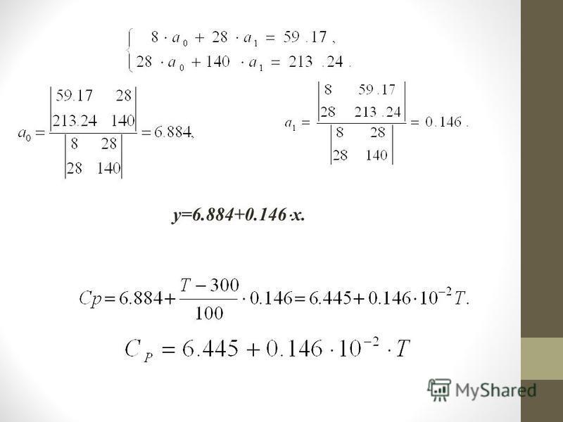 y=6.884+0.146 x.