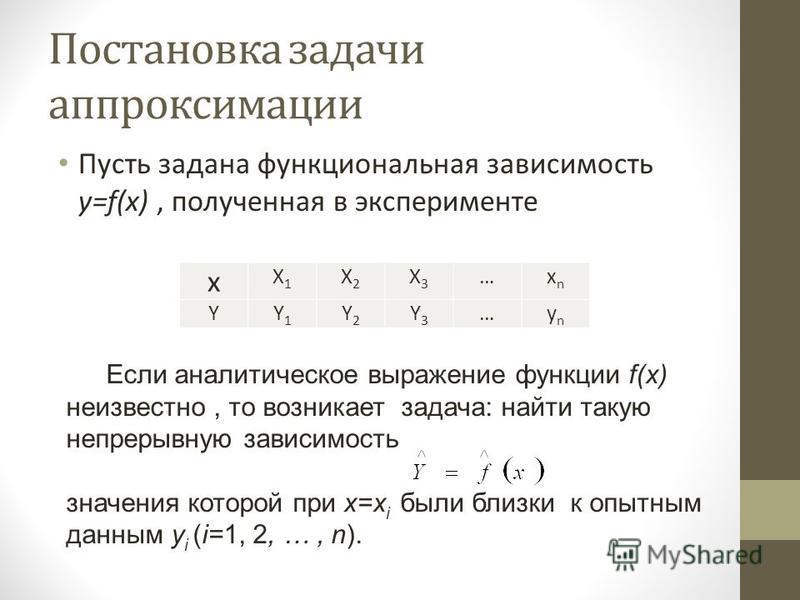 Постановка задачи аппроксимации Пусть задана функциональная зависимость y=f(x), полученная в эксперименте x X1X1 X2X2 X3X3 …xnxn YY1Y1 Y2Y2 Y3Y3 …ynyn Если аналитическое выражение функции f(x) неизвестно, то возникает задача: найти такую непрерывную