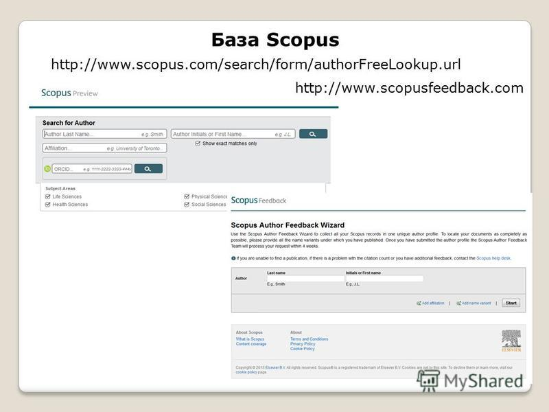 База Scopus http://www.scopus.com/search/form/authorFreeLookup.url http://www.scopusfeedback.com