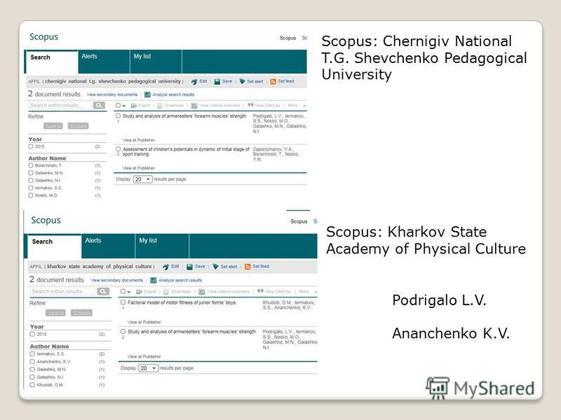 Scopus: Chernigiv National T.G. Shevchenko Pedagogical University Scopus: Kharkov State Academy of Physical Culture Podrigalo L.V. Ananchenko K.V.