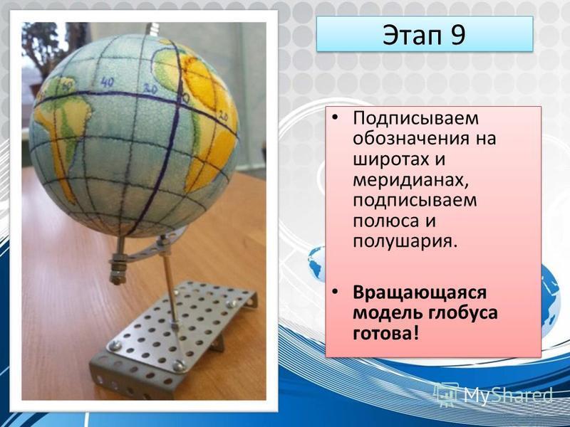 Этап 9 Подписываем обозначения на широтах и меридианах, подписываем полюса и полушария. Вращающаяся модель глобуса готова! Подписываем обозначения на широтах и меридианах, подписываем полюса и полушария. Вращающаяся модель глобуса готова!