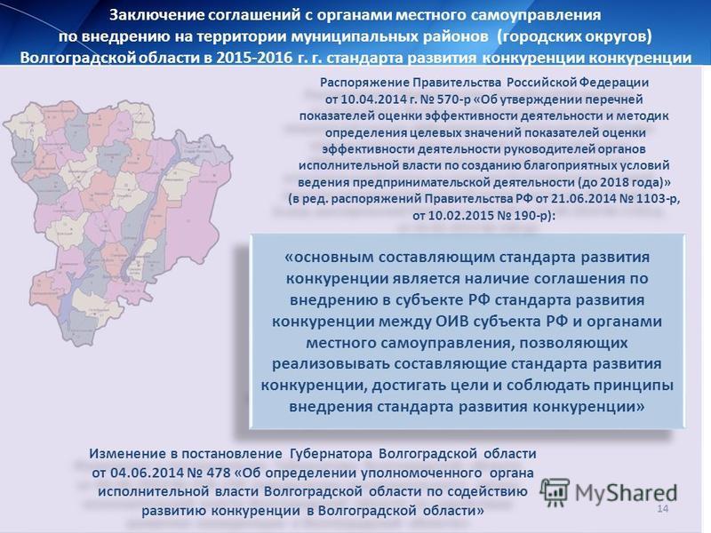 14 Заключение соглашений с органами местного самоуправления по внедрению на территории муниципальных районов (городских округов) Волгоградской области в 2015-2016 г. г. стандарта развития конкуренции конкуренции «основным составляющим стандарта разви