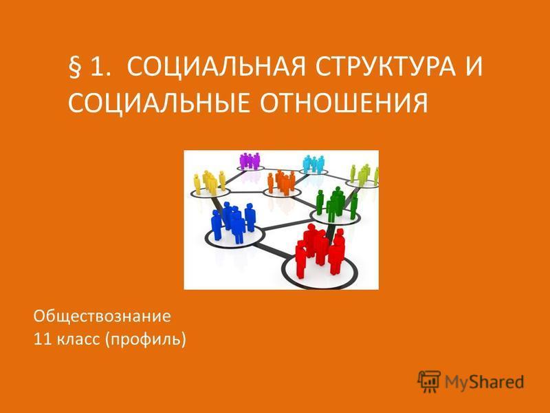 § 1. СОЦИАЛЬНАЯ СТРУКТУРА И СОЦИАЛЬНЫЕ ОТНОШЕНИЯ Обществознание 11 класс (профильь)