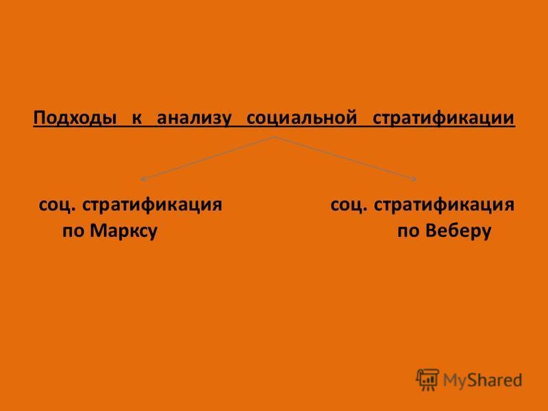 Подходы к анализу социальной стратификации соц. стратификация соц. стратификация по Марксу по Веберу