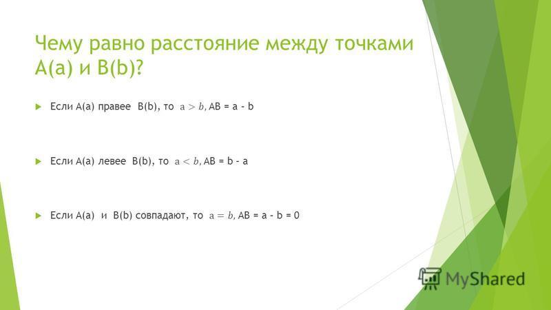 Чему равно расстояние между точками А(а) и В(b)?