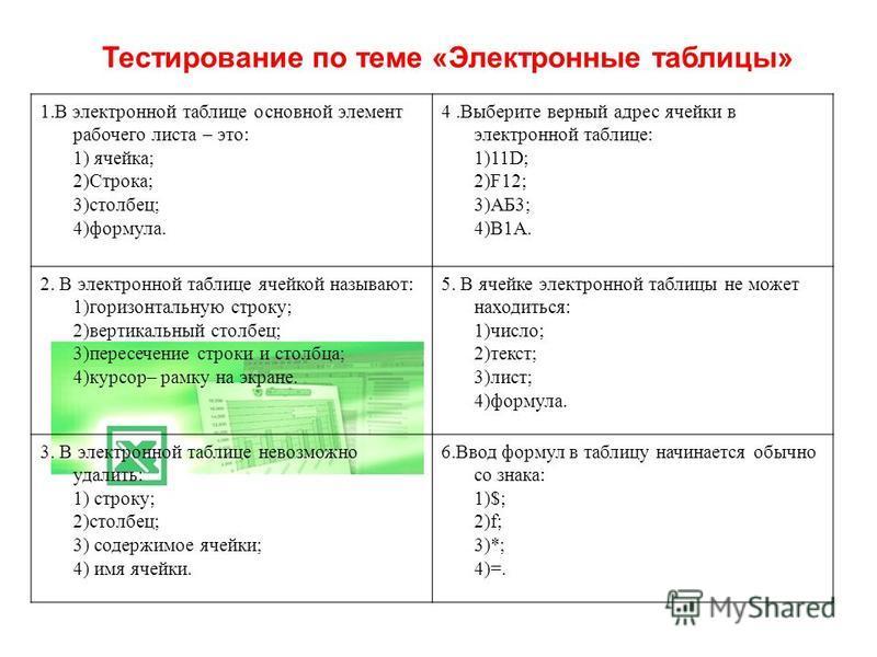Тестирование по теме «Электронные таблицы» 1. В электронной таблице основной элемент рабочего листа – это: 1) ячейка; 2)Строка; 3)столбец; 4)формула. 4. Выберите верный адрес ячейки в электронной таблице: 1)11D; 2)F12; 3)АБ3; 4)В1А. 2. В электронной