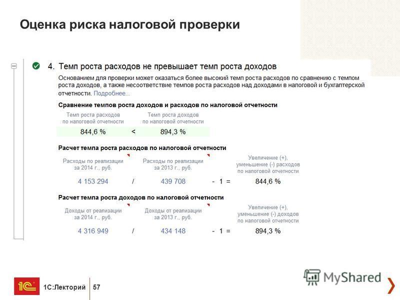 1С:Лекторий 57 Оценка риска налоговой проверки