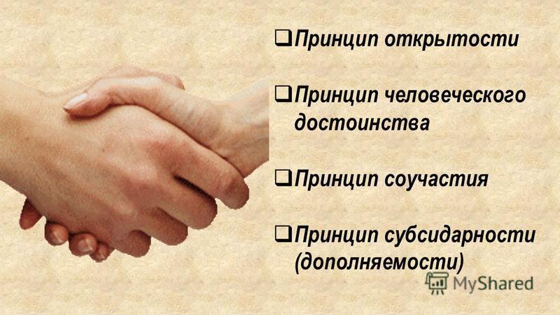 Принцип открытости Принцип человеческого достоинства Принцип соучастия Принцип субсидарности (дополняемости)