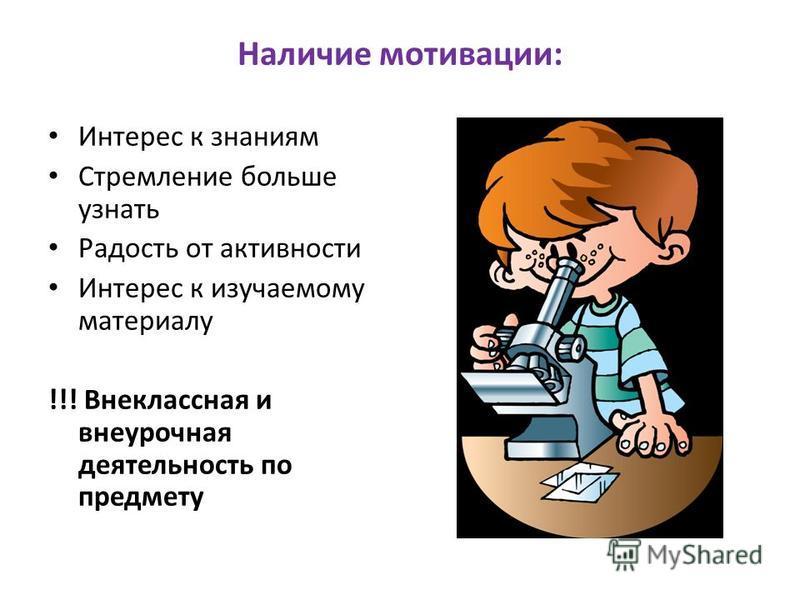 Наличие мотивации: Интерес к знаниям Стремление больше узнать Радость от активности Интерес к изучаемому материалу !!! Внеклассная и внеурочная деятельность по предмету