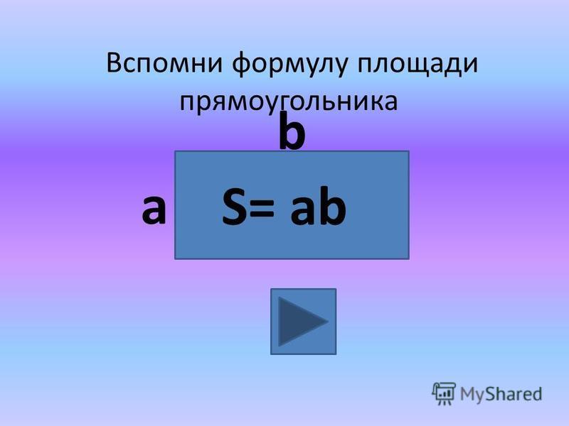 Вспомни формулу площади прямоугольника а b S= ab