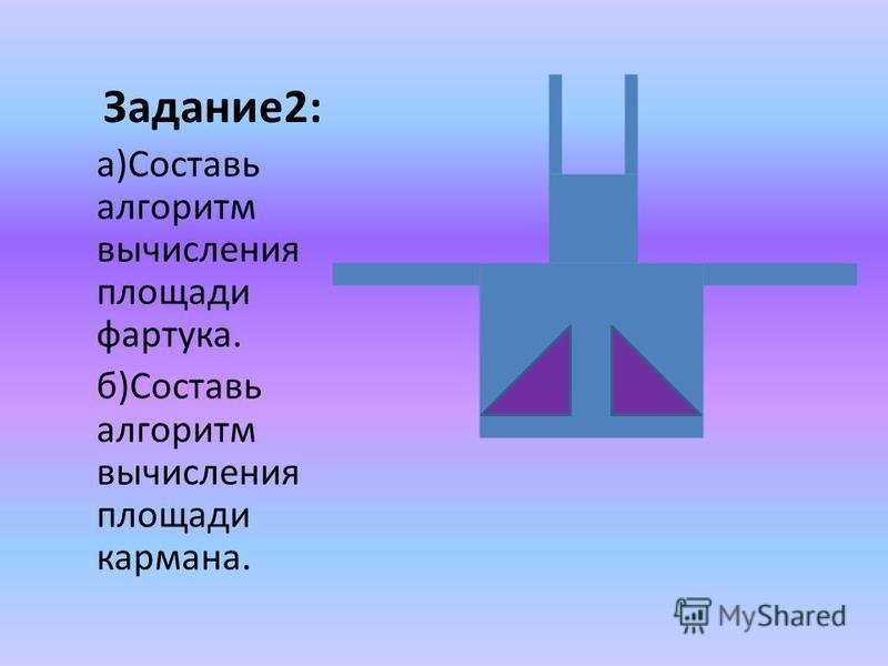 Задание 2: а)Составь алгоритм вычисления площади фартука. б)Составь алгоритм вычисления площади кармана.