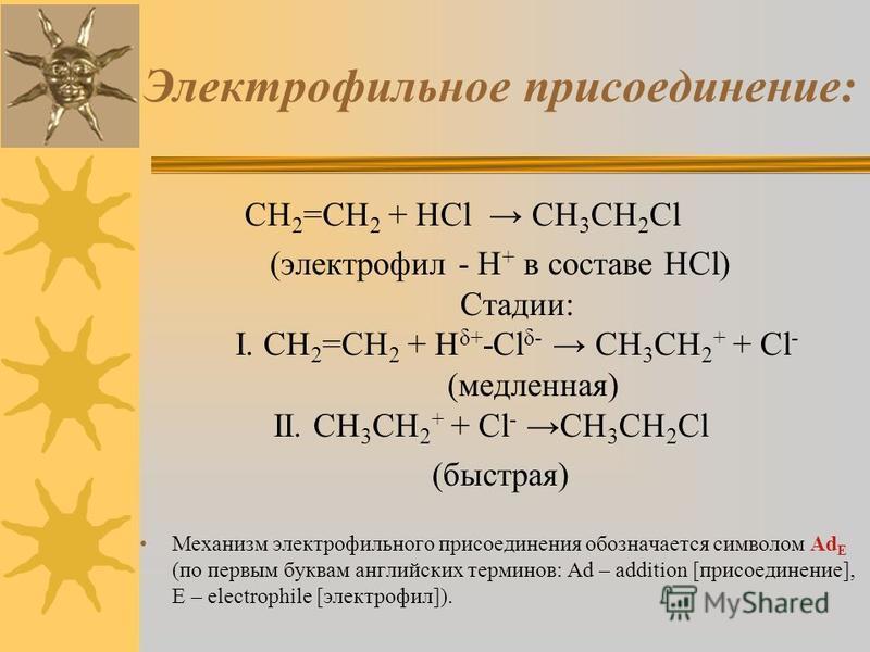 Электрофильное присоединение: CH 2 =CH 2 + HCl CH 3 CH 2 Cl (электрофил - H + в составе HCl) Стадии: I. CH 2 =CH 2 + H δ+ -Cl δ- CH 3 CH 2 + + Cl - (медленная) II. CH 3 CH 2 + + Cl - CH 3 CH 2 Cl (быстрая) Механизм электрофильного присоединения обозн