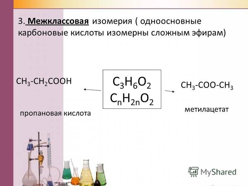 C 3 H 6 O 2 C n H 2n O 2 3. Межклассновая изомерия ( одноосновные карбоновые кислоты изомерны сложным эфирам) CH 3 -CH 2 COOH CH 3 -COO-CH 3 пропанновая кислота метилацетат