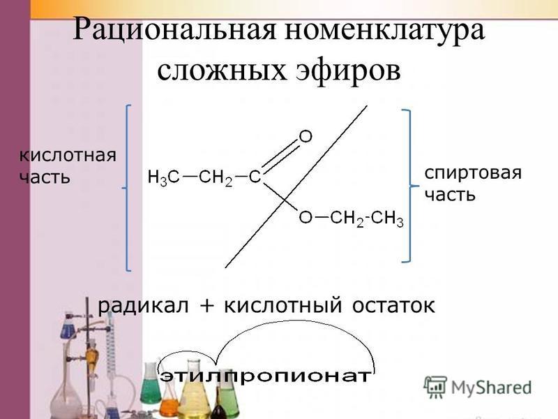 Рациональная номенклатура сложных эфиров кислотная часть спиртновая часть радикал + кислотный остаток