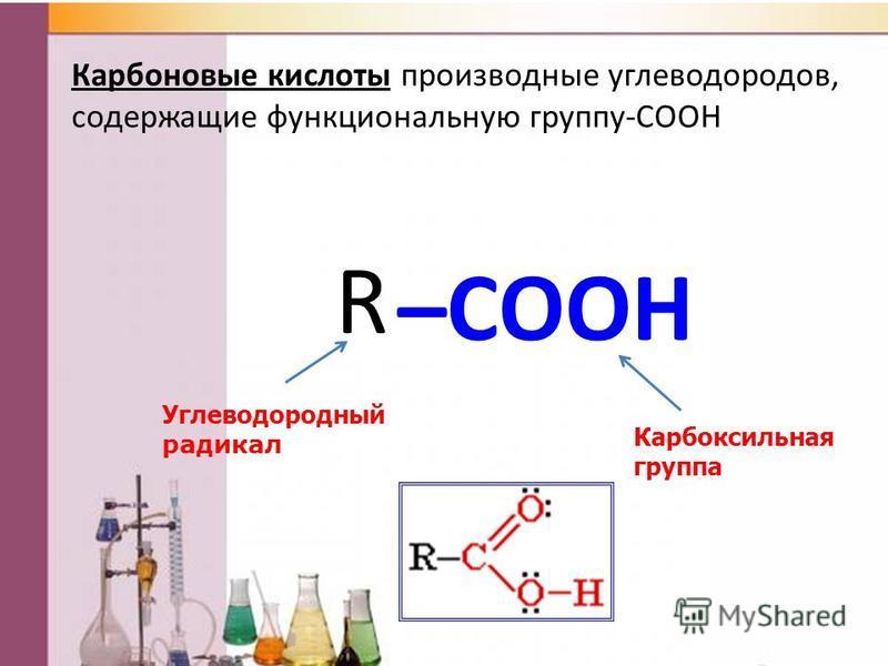 Карбоновые кислоты производные углеводородов, содержащие функциональную группу-COOH –COOH Карбоксильная группа R Углеводородный радикал