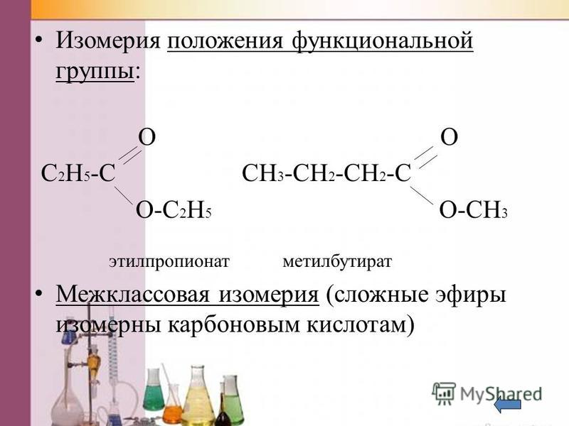 Изомерия положения функциональной группы: O O C 2 H 5 -C CH 3 -CH 2 -CH 2 -C O-C 2 H 5 O-CH 3 этилпропионат метилбутират Межклассновая изомерия (сложные эфиры изомерны карбоновым кислотам)