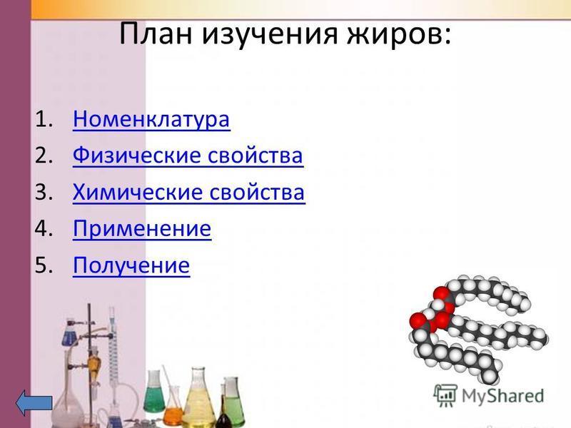 План изучения жиров: 1. Номенклатура Номенклатура 2. Физические свойства Физические свойства 3. Химические свойства Химические свойства 4. Применение Применение 5.Получение Получение