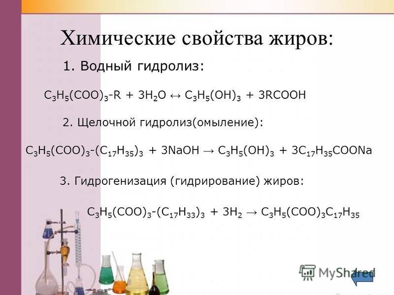 Химические свойства жиров: 1. Водный гидролиз: С 3 H 5 (COO) 3 -R + 3H 2 O C 3 H 5 (OH) 3 + 3RCOOH 2. Щелочной гидролиз(омыление): С 3 H 5 (COO) 3 -(C 17 H 35 ) 3 + 3NaOH C 3 H 5 (OH) 3 + 3C 17 H 35 COONa 3. Гидрогенизация (гидрирование) жиров: С 3 H