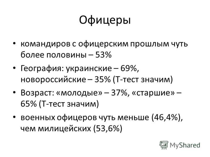 Офицеры командиров с офицерским прошлым чуть более половины – 53% География: украинские – 69%, новороссийские – 35% (Т-тест значим) Возраст: «молодые» – 37%, «старшие» – 65% (Т-тест значим) военных офицеров чуть меньше (46,4%), чем милицейских (53,6%