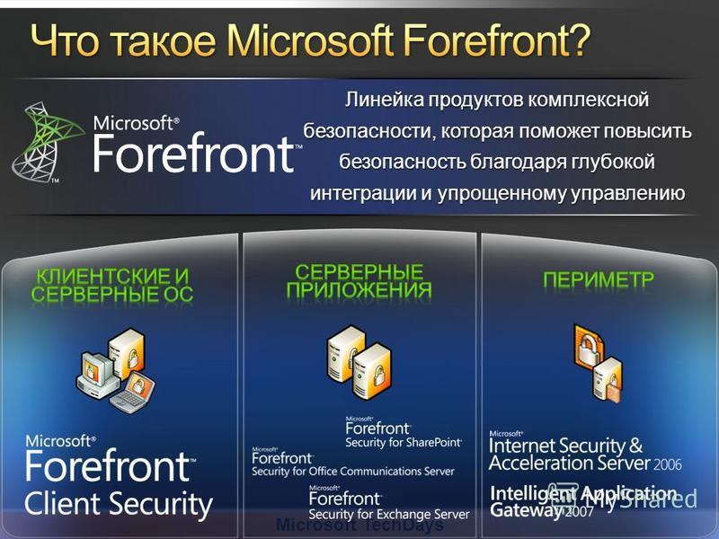 Microsoft TechDays Линейка продуктов комплексной безопасности, которая поможет повысить безопасность благодаря глубокой интеграции и упрощенному управлению