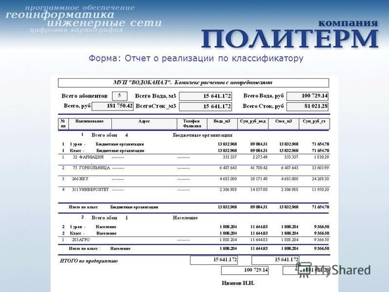 Форма: Отчет о реализации по классификатору