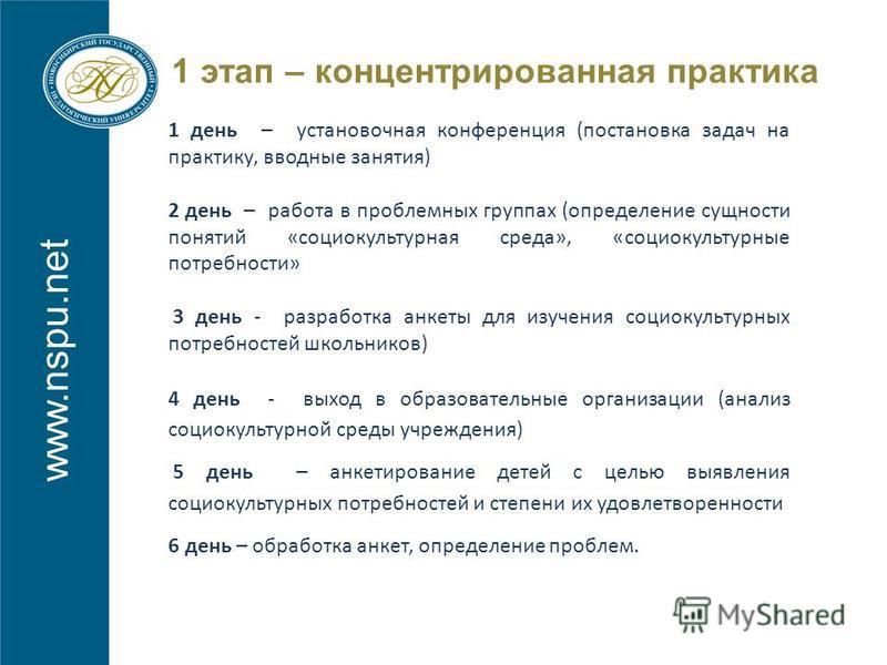www.nspu.net 1 этап – концентрированная практика 1 день – установочная конференция (постановка задач на практику, вводные занятия) 2 день – работа в проблемных группах (определение сущности понятий «социокультурная среда», «социокультурные потребност