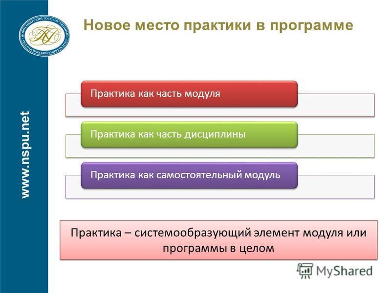 Новое место практики в программе www.nspu.net Практика как часть модуля Практика как часть дисциплины Практика как самостоятельный модуль Практика – системообразующий элемент модуля или программы в целом