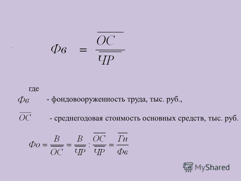 где - фондовооруженность труда, тыс. руб., - среднегодовая стоимость основных средств, тыс. руб..