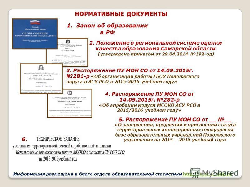 1. Закон об образовании в РФ 2. Положение о региональной системе оценки качества образования Самарской области (утверждено приказом от 29.04.2014 192-од) 4. Распоряжение ПУ МОН СО от 14.09.2015 г. 282-р «Об апробации модуля МСОКО АСУ РСО в 2015/2016