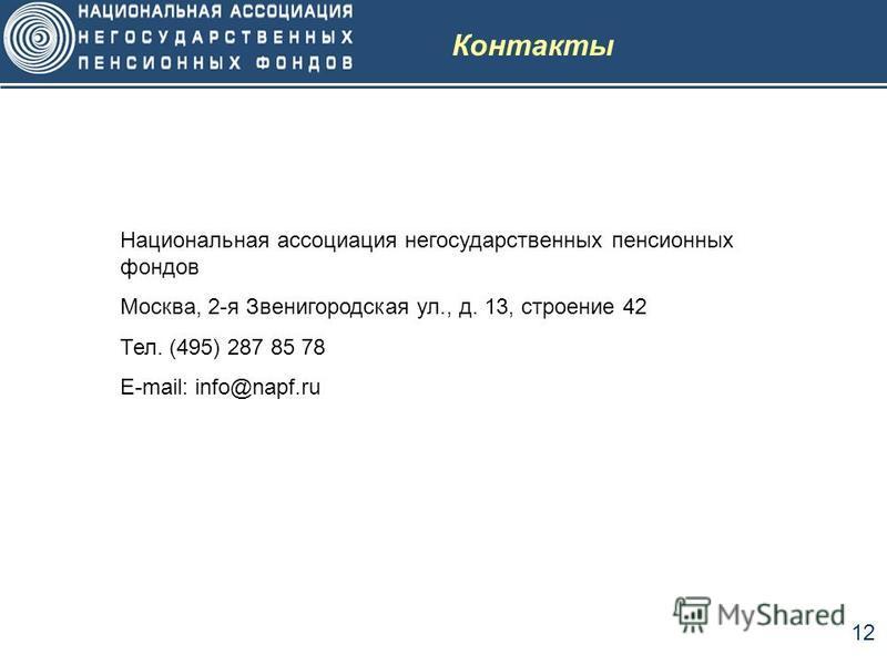 12 Контакты Национальная ассоциация негосударственных пенсионных фондов Москва, 2-я Звенигородская ул., д. 13, строение 42 Тел. (495) 287 85 78 E-mail: info@napf.ru
