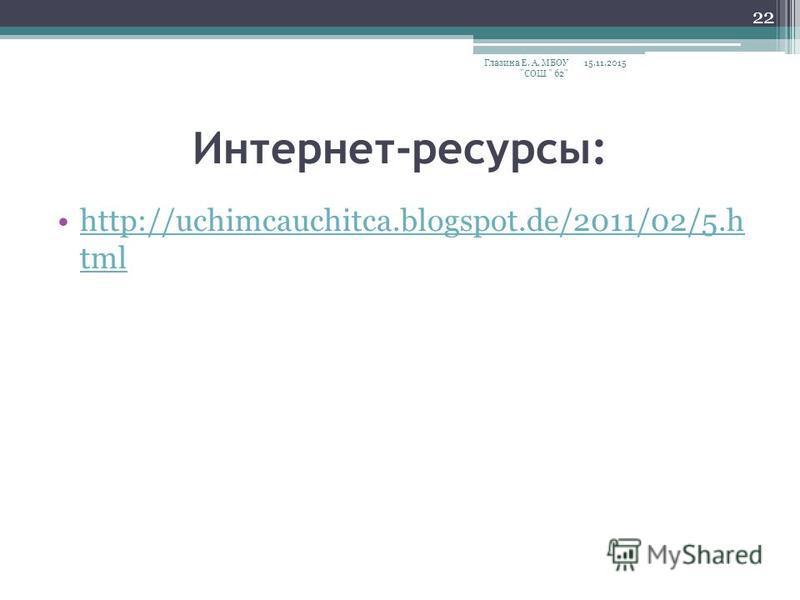 Интернет-ресурсы: http://uchimcauchitca.blogspot.de/2011/02/5. h tmlhttp://uchimcauchitca.blogspot.de/2011/02/5. h tml 15.11.2015Глазина Е. А. МБОУ СОШ  62 22