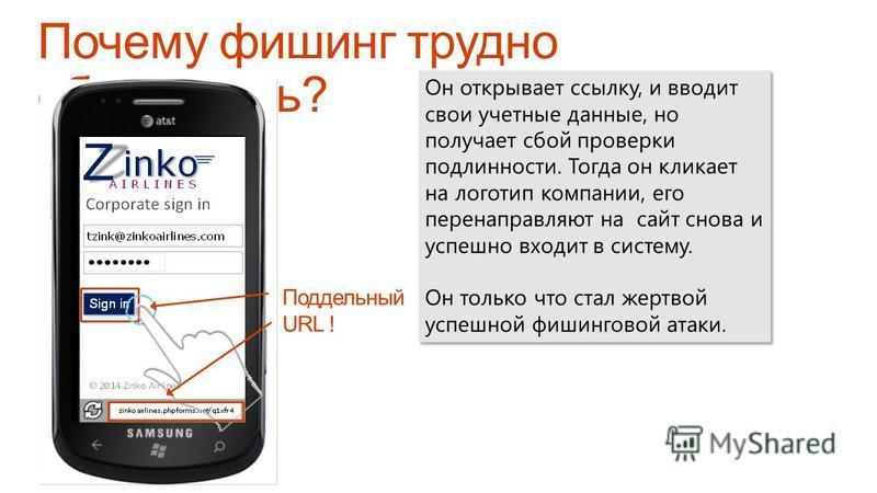 Zinko Airlines   Privacy   Поддельный URL ! Он открывает ссылку, и вводит свои учетные данные, но получает сбой проверки подлинности. Тогда он кликает на логотип компании, его перенаправляют на сайт снова и успешно входит в систему. Он только что ста