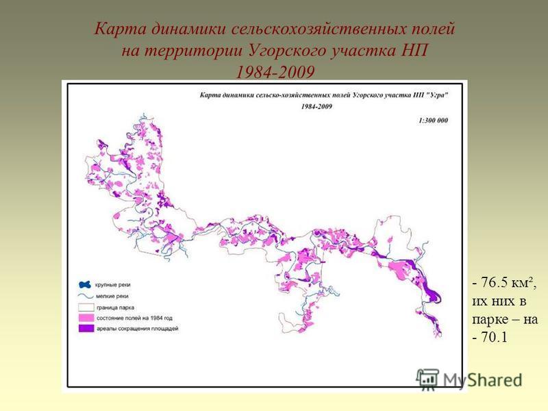 Карта динамики сельскохозяйственных полей на территории Угорского участка НП 1984-2009 - 76.5 км², их них в парке – на - 70.1