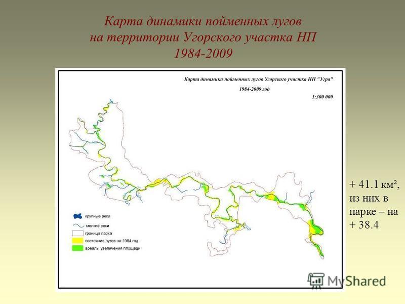 Карта динамики пойменных лугов на территории Угорского участка НП 1984-2009 + 41.1 км², из них в парке – на + 38.4