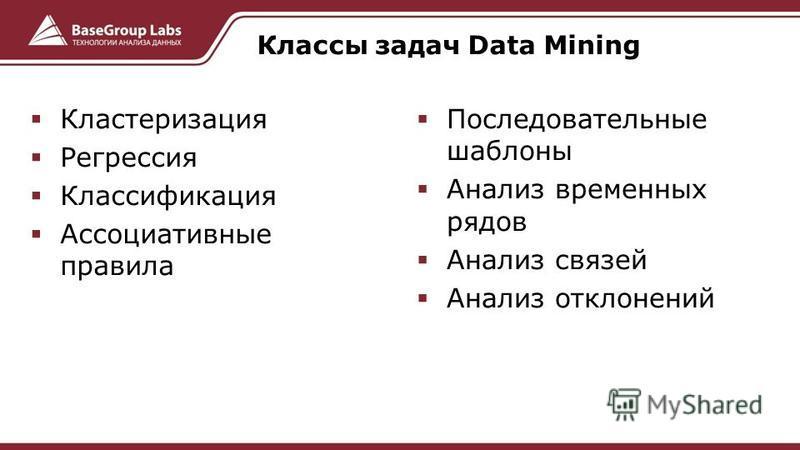 Кластеризация Регрессия Классификация Ассоциативные правила Последовательные шаблоны Анализ временных рядов Анализ связей Анализ отклонений Классы задач Data Mining