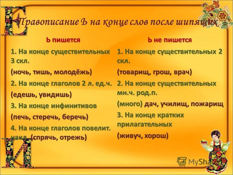 Правописание Ь на конце слов после шипящих Ь пишется 1. На конце существительных 3 скл. (ночьь, тишь, молодёжь) 2. На конце глаголов 2 л. ед.ч. (едешь, увидишь) 3. На конце инфинитивов (печь, стеречь, беречь) 4. На конце глаголов повелит. накл. (спря