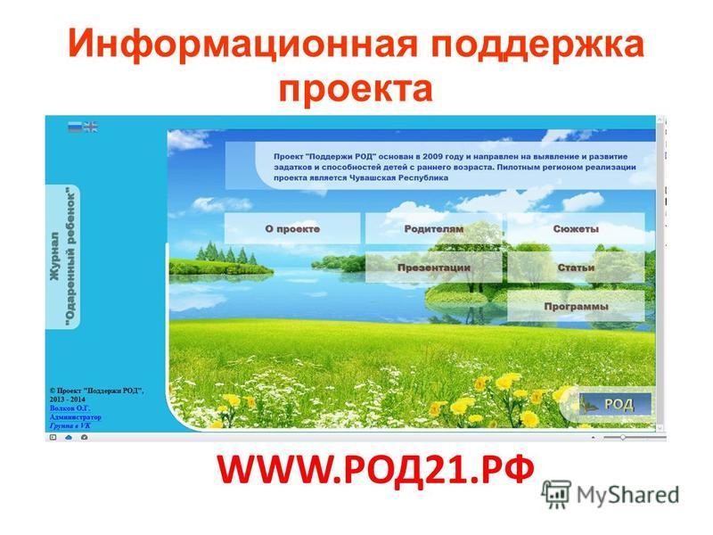 WWW.РОД21. РФ Информационная поддержка проекта