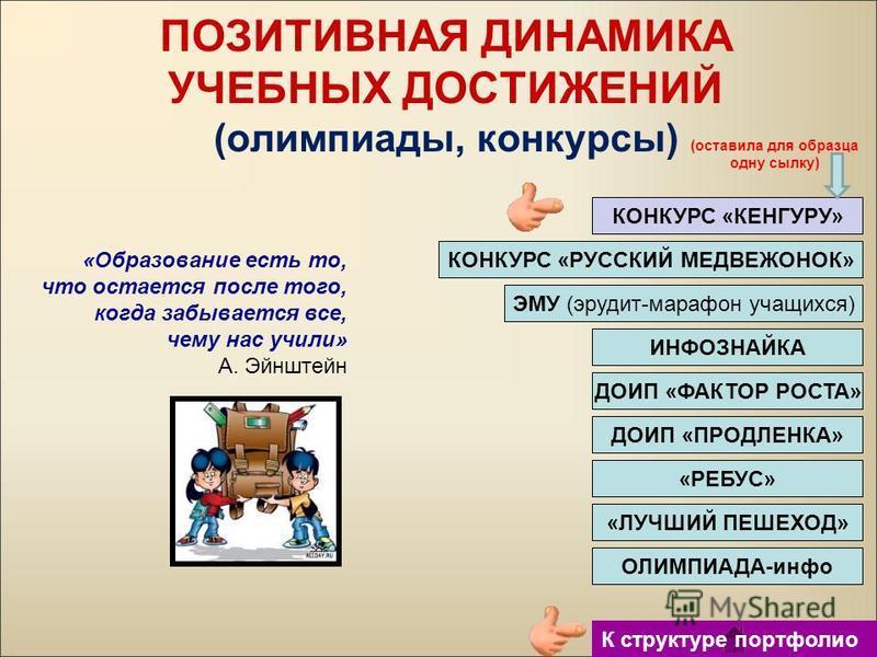 КОНКУРС «КЕНГУРУ» КОНКУРС «РУССКИЙ МЕДВЕЖОНОК» ЭМУ (эрудит-марафон учащихся) ИНФОЗНАЙКА ПОЗИТИВНАЯ ДИНАМИКА УЧЕБНЫХ ДОСТИЖЕНИЙ (олимпиады, конкурсы) «Образование есть то, что остается после того, когда забывается все, чему нас учили» А. Эйнштейн ДОИП