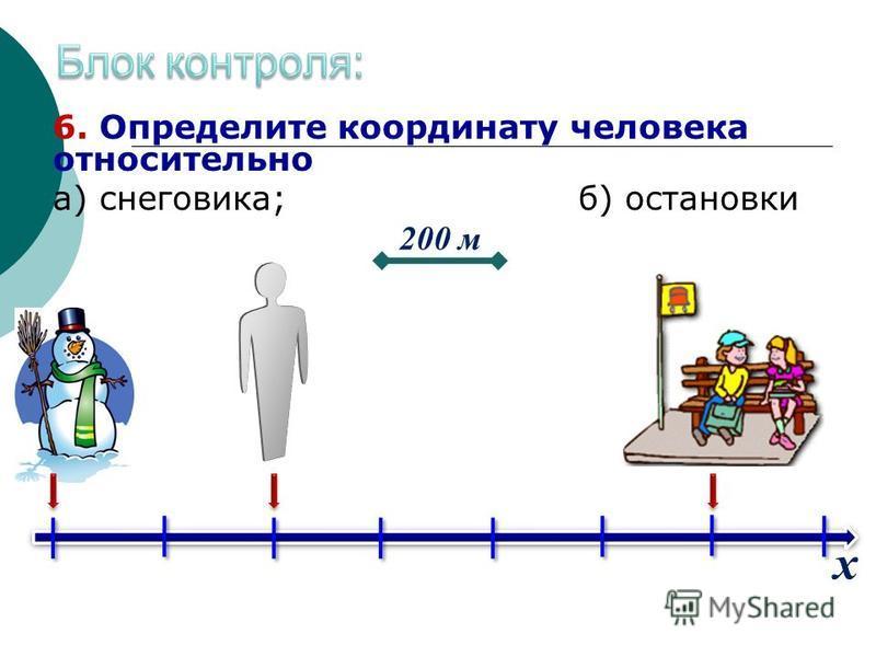 6. Определите координату человека относительно а) снеговика;б) остановки 200 м х
