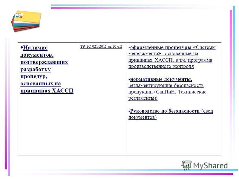 Наличие документов, подтверждающих разработку процедур, основанных на принципах ХАССП ТР ТС 021/2011 ст.10 ч.2 -оформленные процедуры « Системы менеджмента », основанные на принципах ХАССП, в т.ч. программа производственного контроля -нормативные док