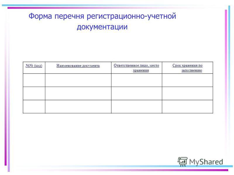 Форма перечня регистрационно-учетной документации (код)Наименование документа Ответственное лицо, место хранения Срок хранения по заполнению
