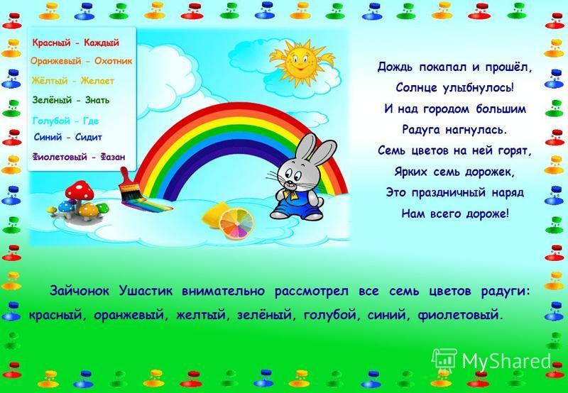 Зайчонок Ушастик внимательно рассмотрел все семь цветов радуги: красный, оранжевый, желтый, зелёный, голубой, синий, фиолетовый. Дождь покапал и прошёл, Солнце улыбнулось! И над городом большим Радуга нагнулась. Семь цветов на ней горят, Ярких семь д