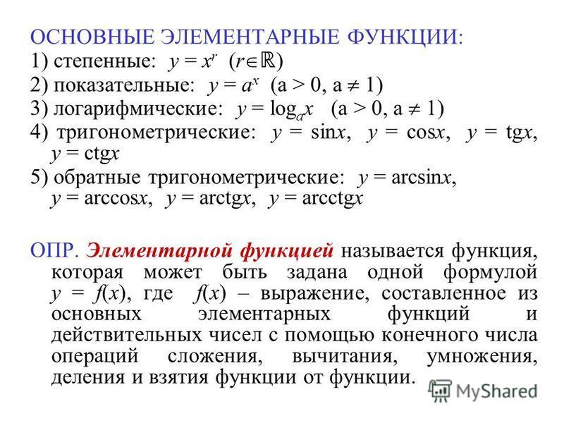 ОСНОВНЫЕ ЭЛЕМЕНТАРНЫЕ ФУНКЦИИ: 1) степенные: y = x r (r ) 2) показательные: y = a x (a > 0, a 1) 3) логарифмические: y = log a x (a > 0, a 1) 4) тригонометрические: y = sinx, y = cosx, y = tgx, y = ctgx 5) обратные тригонометрические: y = arcsinx, y