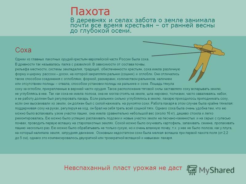 Соха Одним из главных пахотных орудий крестьян европейской части России была соха. В древности так называлась палка с развилкой. В зависимости от состава почвы, рельефа местности, системы земледелия, традиций, обеспеченности крестьян, соха имела разл