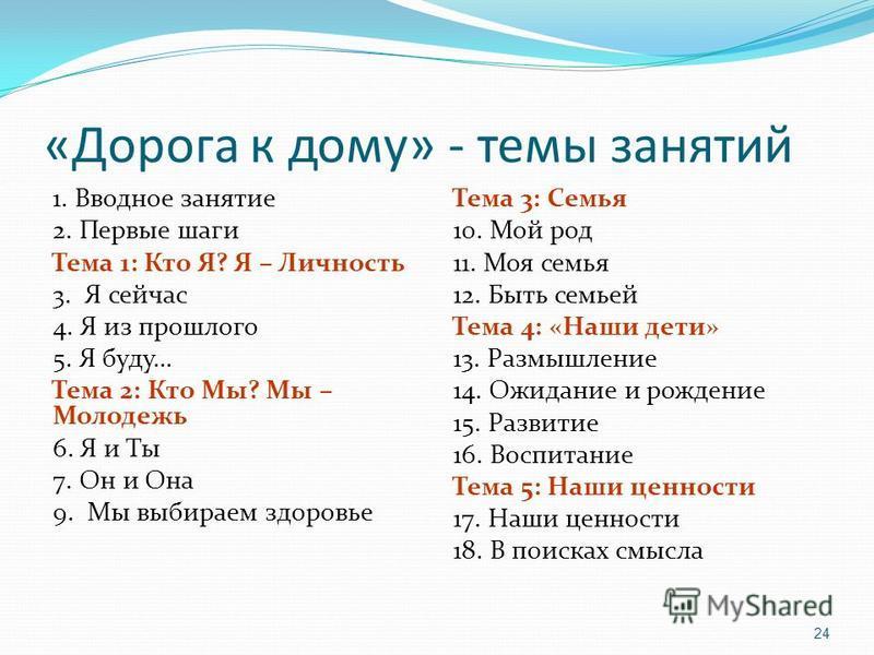 «Дорога к дому» - темы занятий 1. Вводное занятие 2. Первые шаги Тема 1: Кто Я? Я – Личность 3. Я сейчас 4. Я из прошлого 5. Я буду… Тема 2: Кто Мы? Мы – Молодежь 6. Я и Ты 7. Он и Она 9. Мы выбираем здоровье Тема 3: Семья 10. Мой род 11. Моя семья 1
