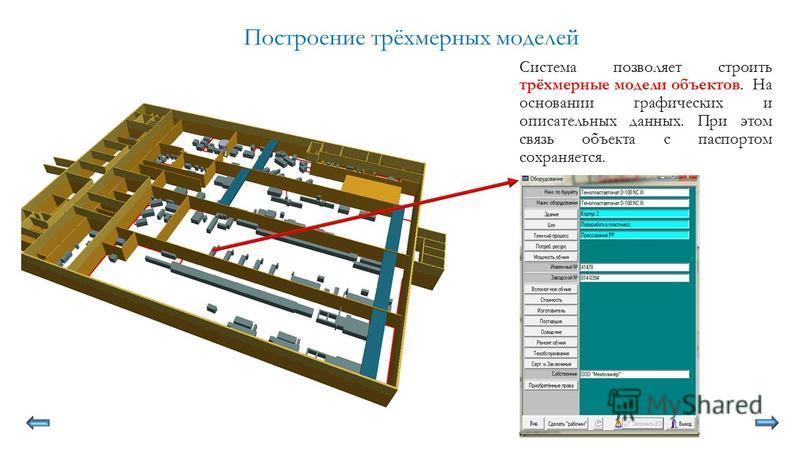 Построение трёхмерных моделей Система позволяет строить трёхмерные модели объектов. На основании графических и описательных данных. При этом связь объекта с паспортом сохраняется.