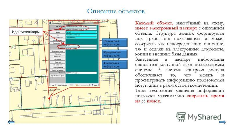 Описание объектов Каждый объект, нанесённый на схему, имеет электронный паспорт с описанием объекта. Структура данных формируется под требования пользователя и может содержать как непосредственно описание, так и ссылки на электронные документы, копии
